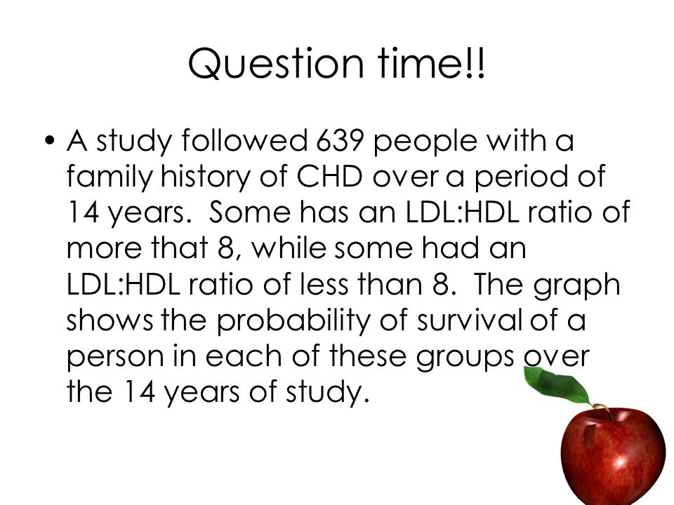 Question time!. A study followed 639 people with a family history of CHD over a period of 14 years.