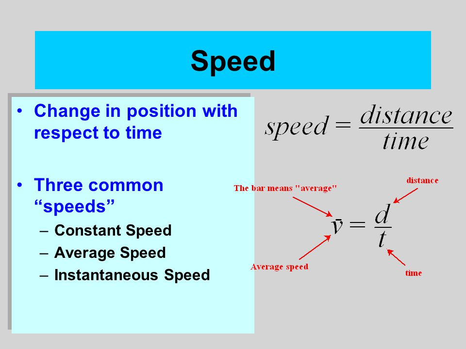 """Speed Change in position with respect to time Three common """"speeds"""" –Constant Speed –Average Speed –Instantaneous Speed Change in position with respec"""