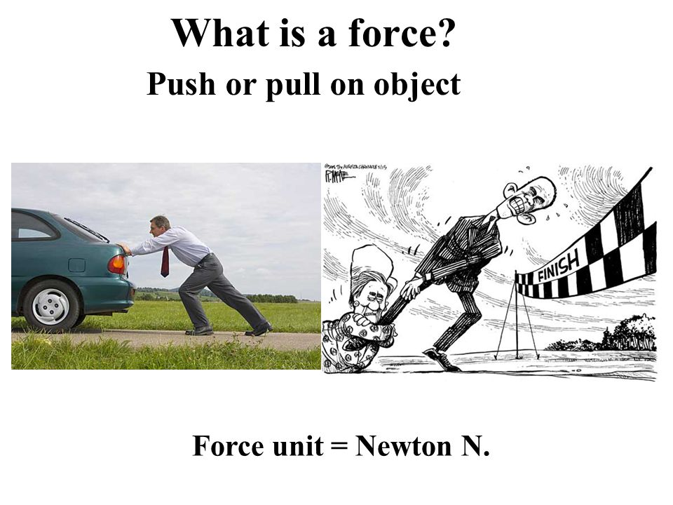 What is a force? Push or pull on object Force unit = Newton N.