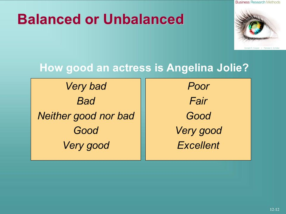 12-12 Balanced or Unbalanced Very bad Bad Neither good nor bad Good Very good Poor Fair Good Very good Excellent How good an actress is Angelina Jolie