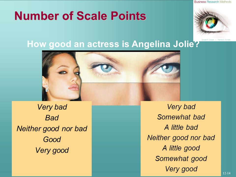 12-14 Number of Scale Points Very bad Bad Neither good nor bad Good Very good Very bad Somewhat bad A little bad Neither good nor bad A little good Somewhat good Very good How good an actress is Angelina Jolie