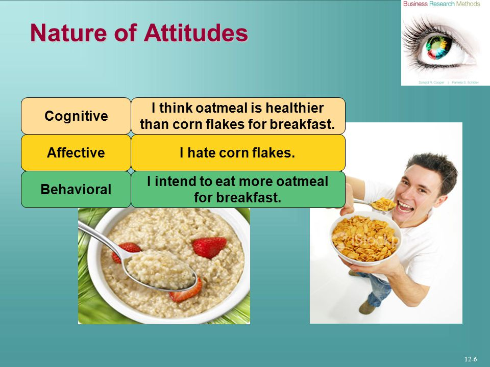 12-6 Nature of Attitudes Cognitive I think oatmeal is healthier than corn flakes for breakfast.