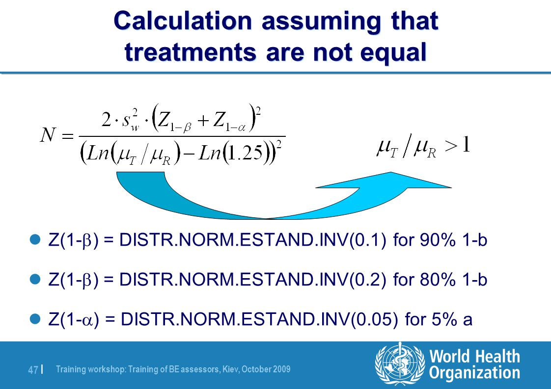 Training workshop: Training of BE assessors, Kiev, October 2009 47 | Calculation assuming that treatments are not equal Z(1-  ) = DISTR.NORM.ESTAND.INV(0.1) for 90% 1-b Z(1-  ) = DISTR.NORM.ESTAND.INV(0.2) for 80% 1-b Z(1-  ) = DISTR.NORM.ESTAND.INV(0.05) for 5% a