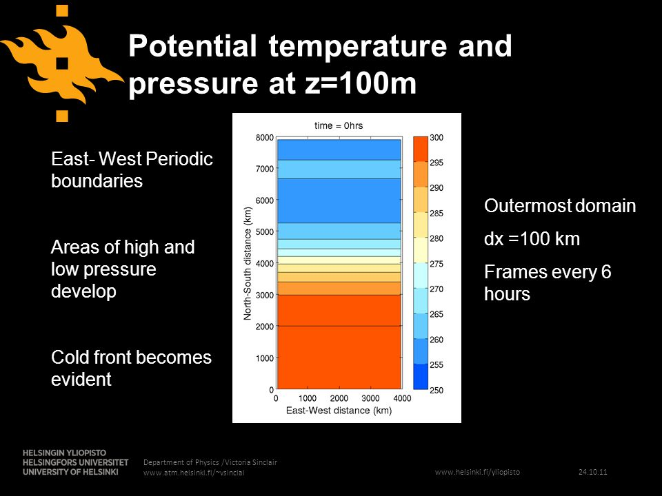 www.helsinki.fi/yliopisto 24.10.11 Department of Physics /Victoria Sinclair www.atm.helsinki.fi/~vsinclai Potential temperature and pressure at z=100m Outermost domain dx =100 km Frames every 6 hours East- West Periodic boundaries Areas of high and low pressure develop Cold front becomes evident