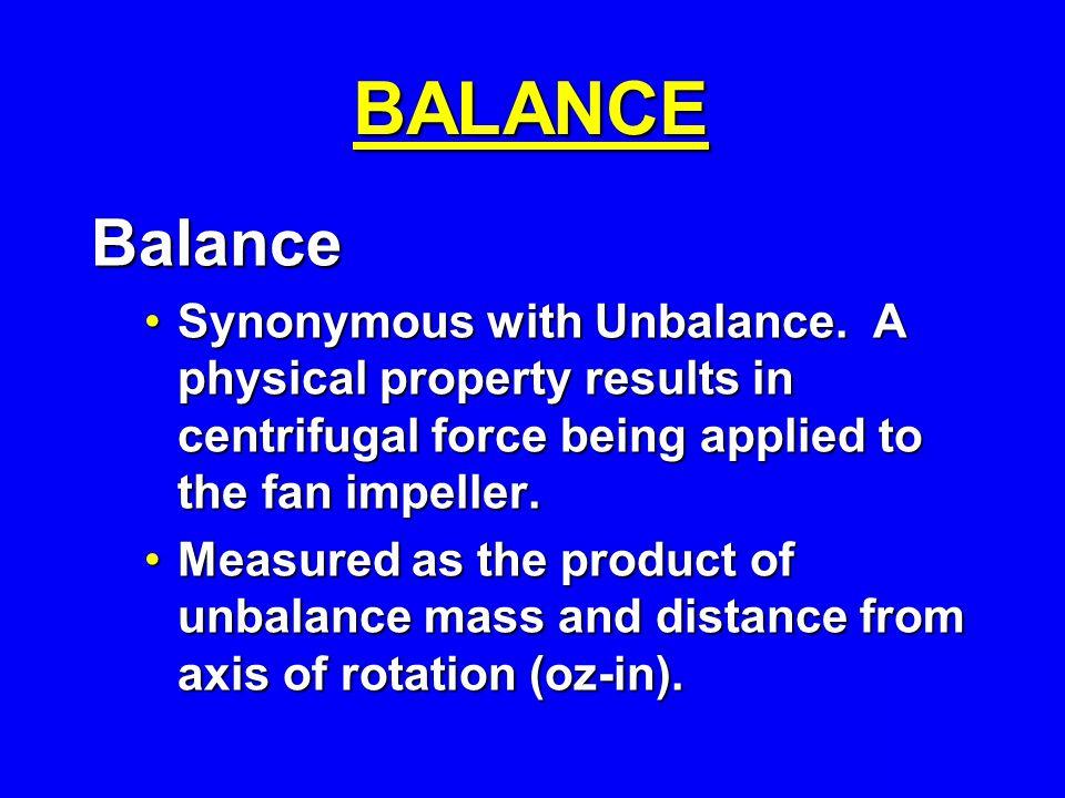 BALANCE Balance Synonymous with Unbalance.