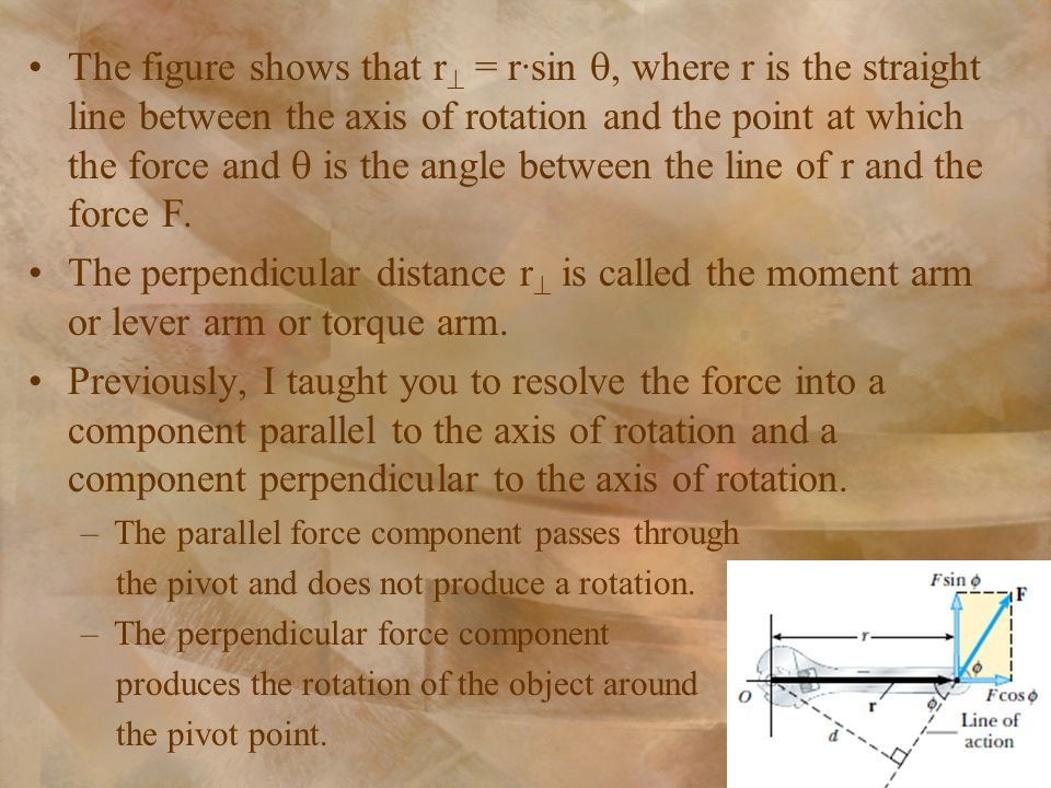 The figure shows that r  = r∙sin , where r is the straight line between the axis of rotation and the point at which the force and  is the angle bet