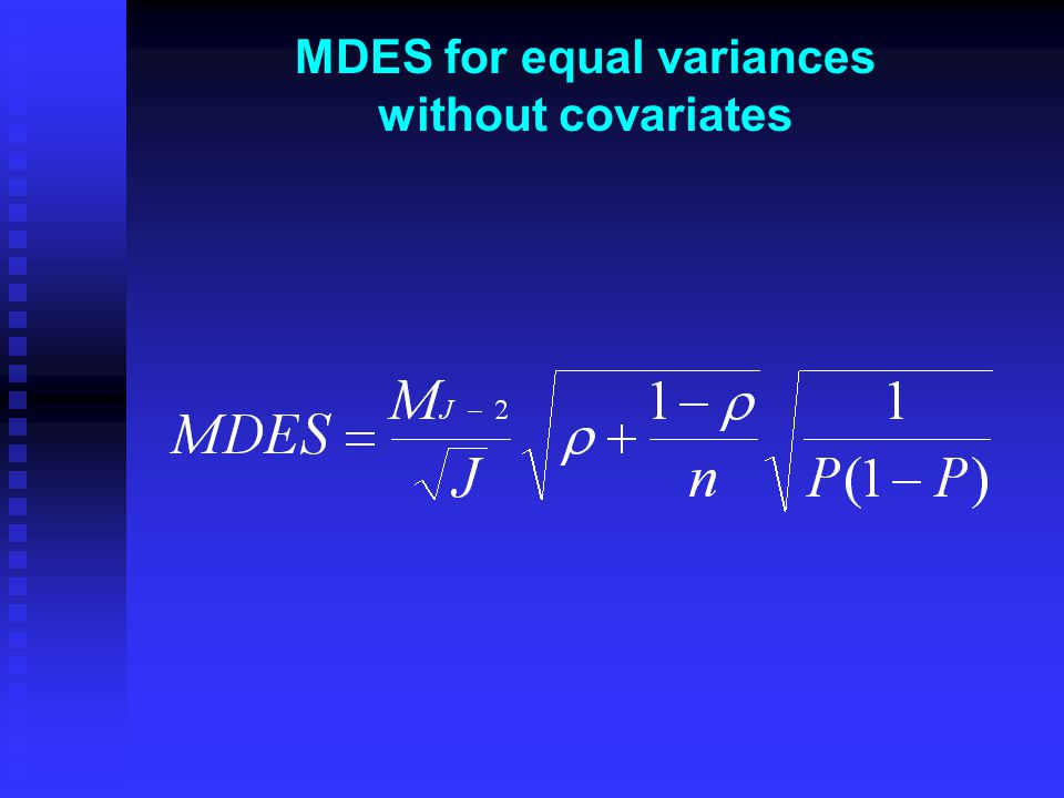 MDES for equal variances without covariates