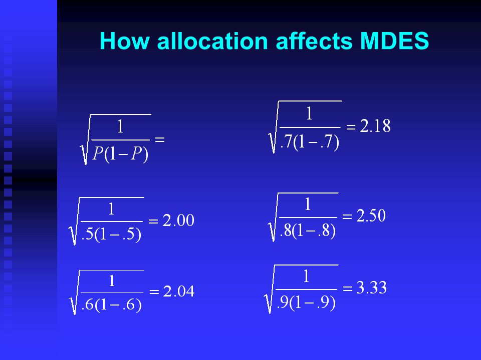 How allocation affects MDES