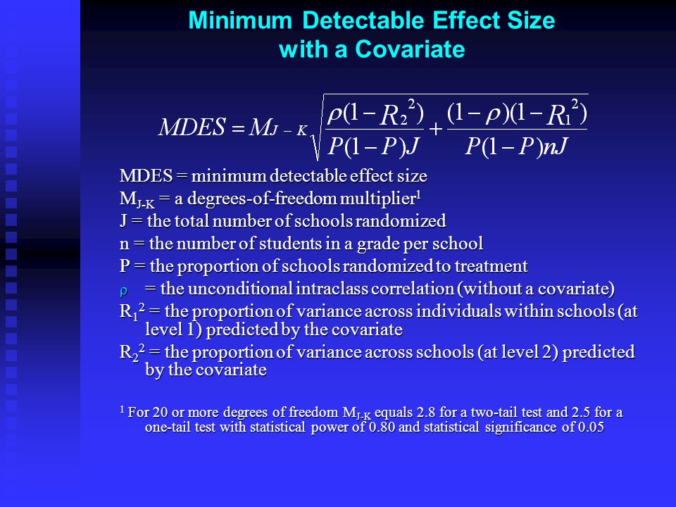 Minimum Detectable Effect Size with a Covariate MDES = minimum detectable effect size M J-K = a degrees-of-freedom multiplier 1 J = the total number of schools randomized n = the number of students in a grade per school P = the proportion of schools randomized to treatment  = the unconditional intraclass correlation (without a covariate) R 1 2 = the proportion of variance across individuals within schools (at level 1) predicted by the covariate R 2 2 = the proportion of variance across schools (at level 2) predicted by the covariate 1 For 20 or more degrees of freedom M J-K equals 2.8 for a two-tail test and 2.5 for a one-tail test with statistical power of 0.80 and statistical significance of 0.05