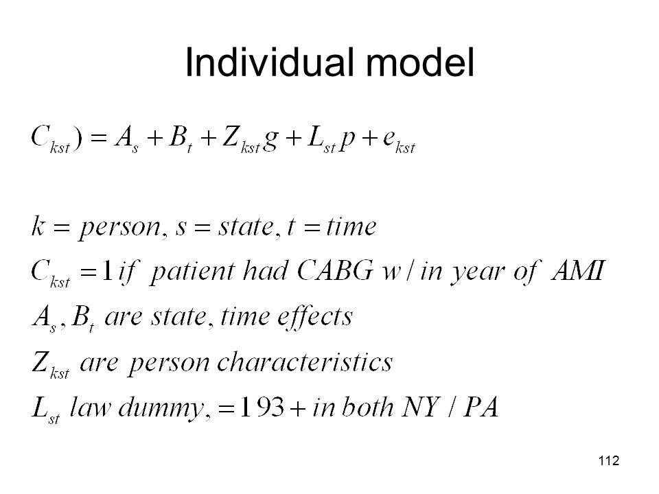 Individual model 112