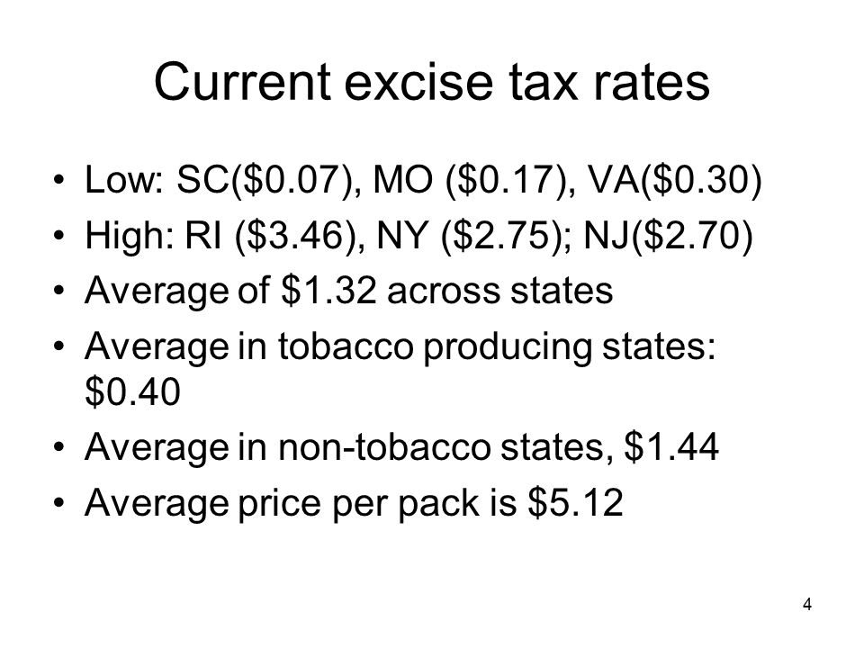 4 Current excise tax rates Low: SC($0.07), MO ($0.17), VA($0.30) High: RI ($3.46), NY ($2.75); NJ($2.70) Average of $1.32 across states Average in tobacco producing states: $0.40 Average in non-tobacco states, $1.44 Average price per pack is $5.12