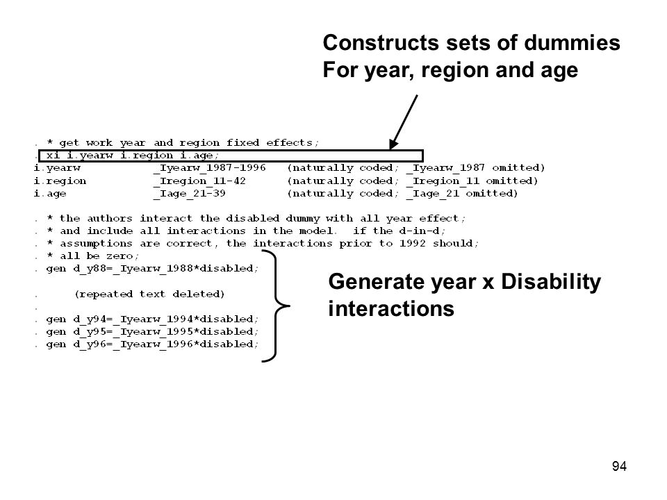 Constructs sets of dummies For year, region and age Generate year x Disability interactions 94
