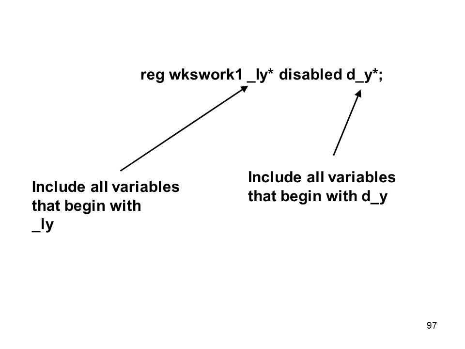 reg wkswork1 _Iy* disabled d_y*; Include all variables that begin with _ly Include all variables that begin with d_y 97