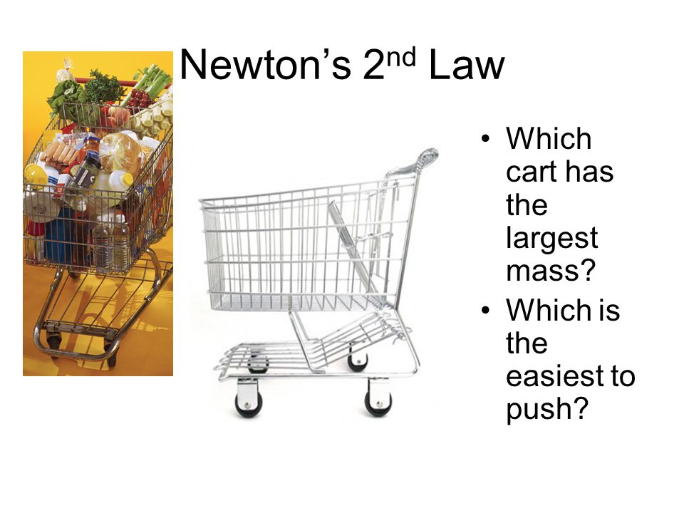 Newton's 2 nd Law Which cart has the largest mass? Which is the easiest to push?