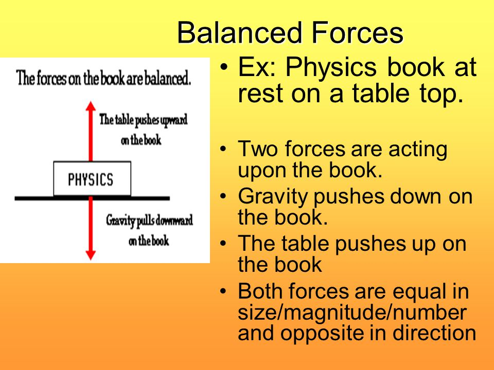 Balanced Forces Ex: Physics book at rest on a table top. Two forces are acting upon the book. Gravity pushes down on the book. The table pushes up on