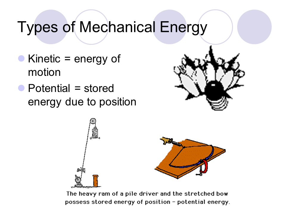 Types of Mechanical Energy Kinetic = energy of motion Potential = stored energy due to position