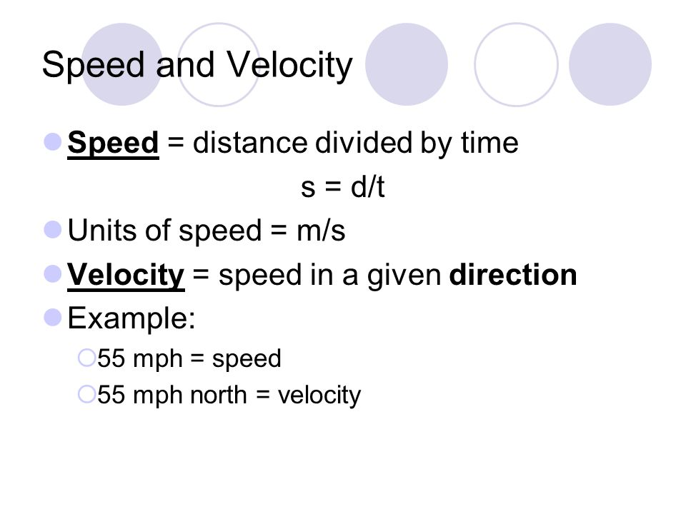 Speed and Velocity Speed = distance divided by time s = d/t Units of speed = m/s Velocity = speed in a given direction Example:  55 mph = speed  55 mph north = velocity