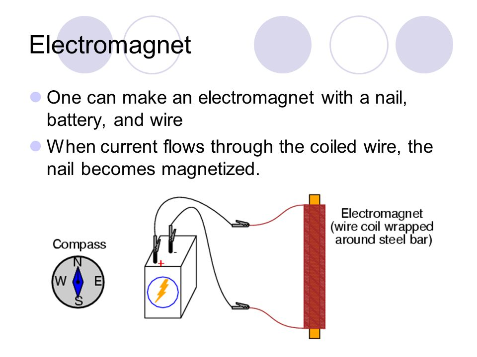 Electromagnet One can make an electromagnet with a nail, battery, and wire When current flows through the coiled wire, the nail becomes magnetized.