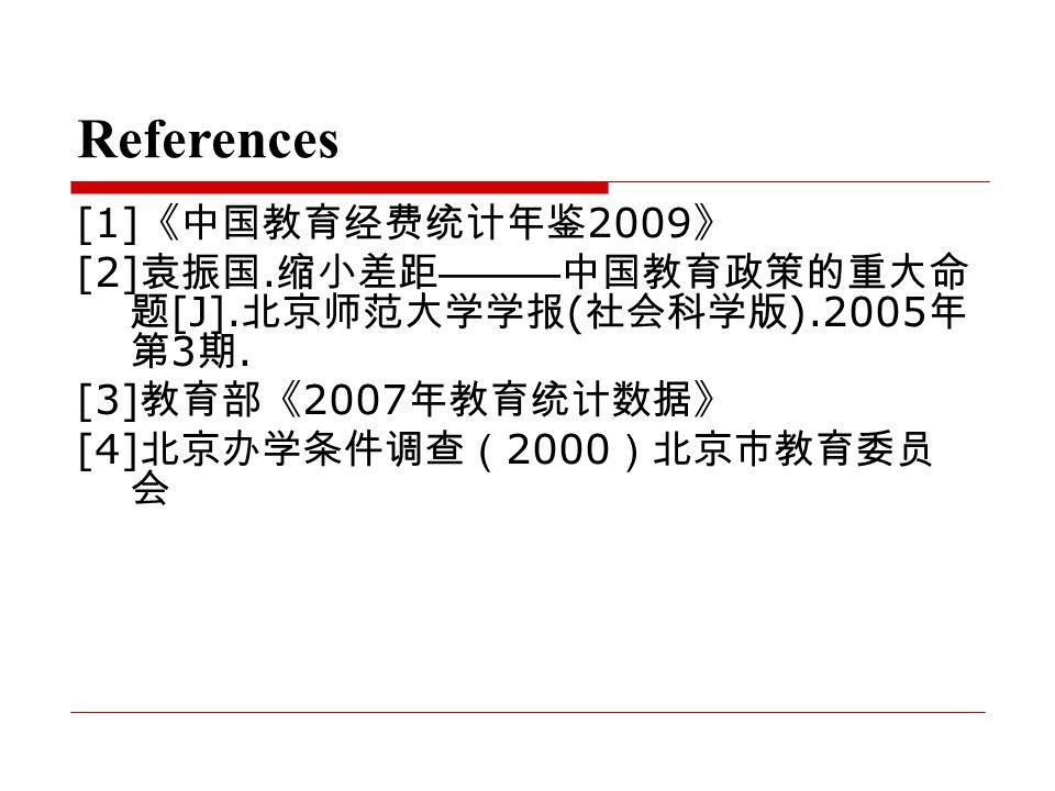 References [1] 《中国教育经费统计年鉴 2009 》 [2] 袁振国. 缩小差距 ——— 中国教育政策的重大命 题 [J].