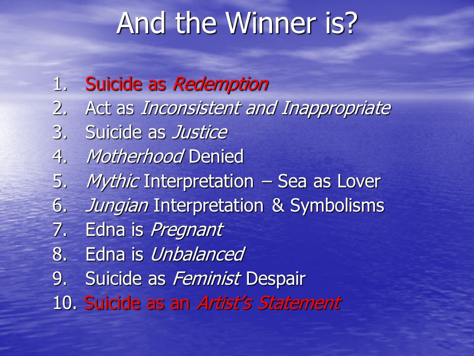 And the Winner is. 1. Suicide as Redemption 2. Act as Inconsistent and Inappropriate 3.