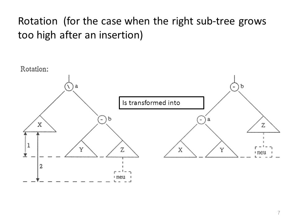 7 Rotation (for the case when the right sub-tree grows too high after an insertion) Is transformed into