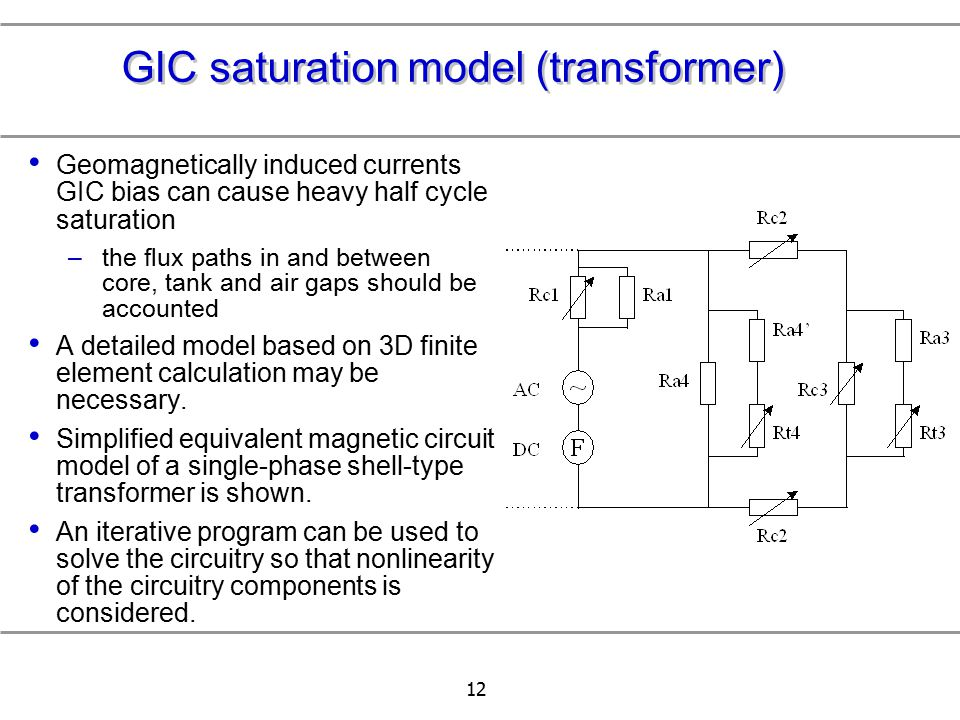12 GIC saturation model (transformer) Geomagnetically induced currents GIC bias can cause heavy half cycle saturation –the flux paths in and between c