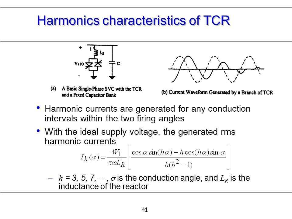 41 Harmonics characteristics of TCR Harmonic currents are generated for any conduction intervals within the two firing angles With the ideal supply vo