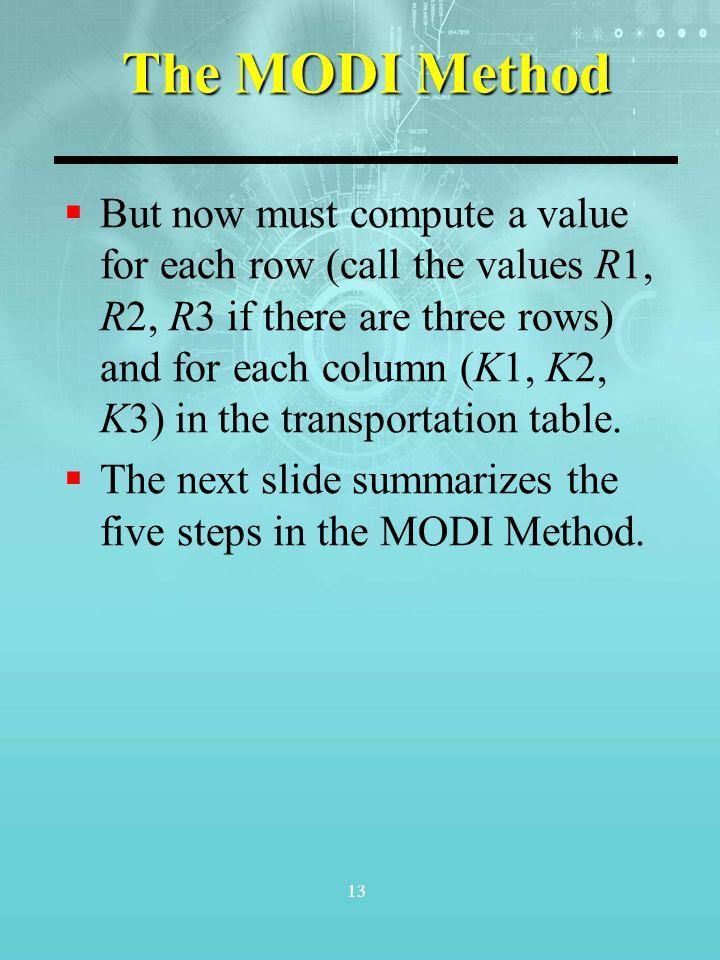 13 The MODI Method  But now must compute a value for each row (call the values R1, R2, R3 if there are three rows) and for each column (K1, K2, K3) i