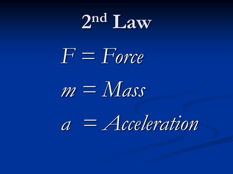 F = Force F = Force m = Mass m = Mass a = Acceleration a = Acceleration
