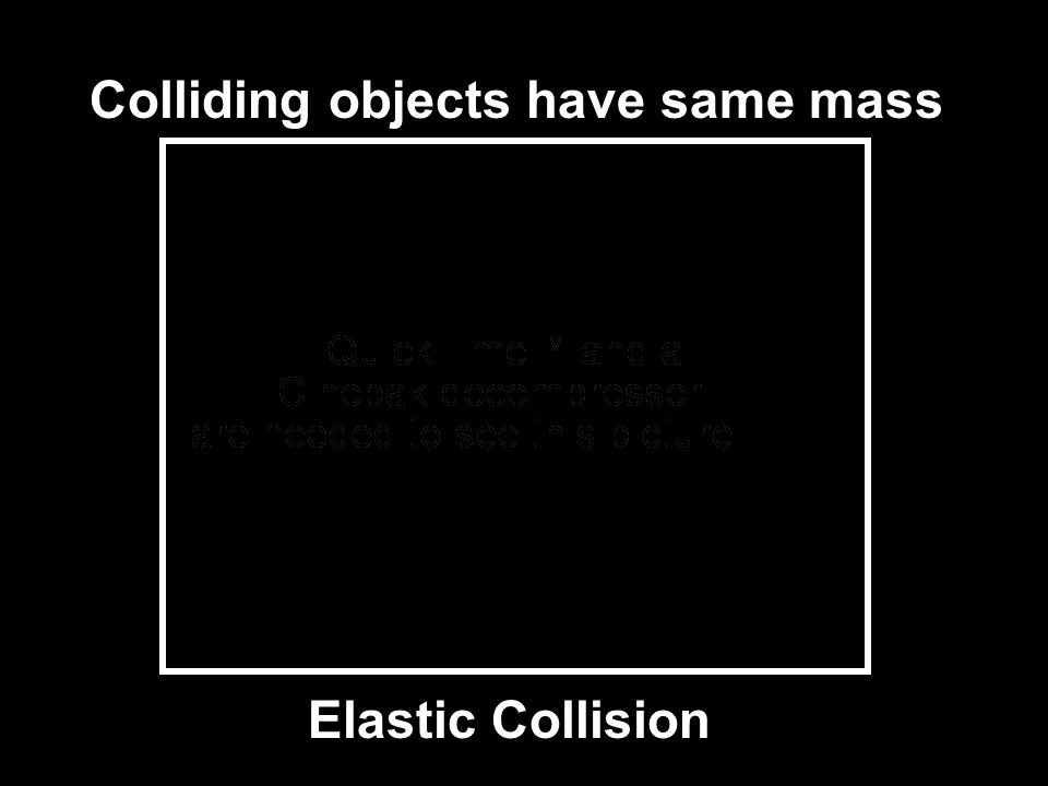 Colliding objects have same mass Elastic Collision