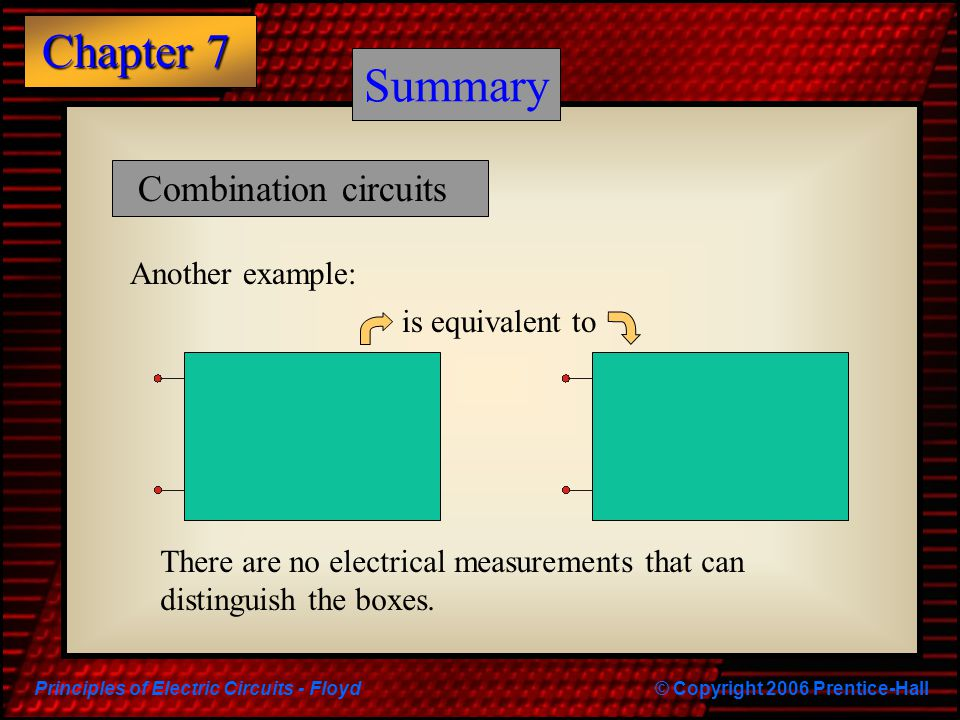 Principles of Electric Circuits - Floyd© Copyright 2006 Prentice-Hall Chapter 7 Summary Combination circuits Another example: There are no electrical