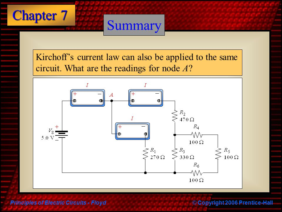 Principles of Electric Circuits - Floyd© Copyright 2006 Prentice-Hall Chapter 7 Summary Kirchoff's current law can also be applied to the same circuit