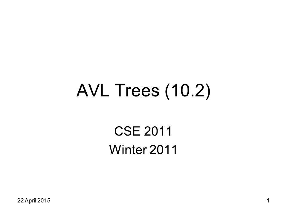 1 AVL Trees (10.2) CSE 2011 Winter 2011 22 April 2015