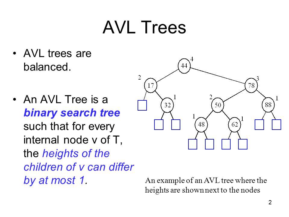 2 AVL Trees AVL trees are balanced.