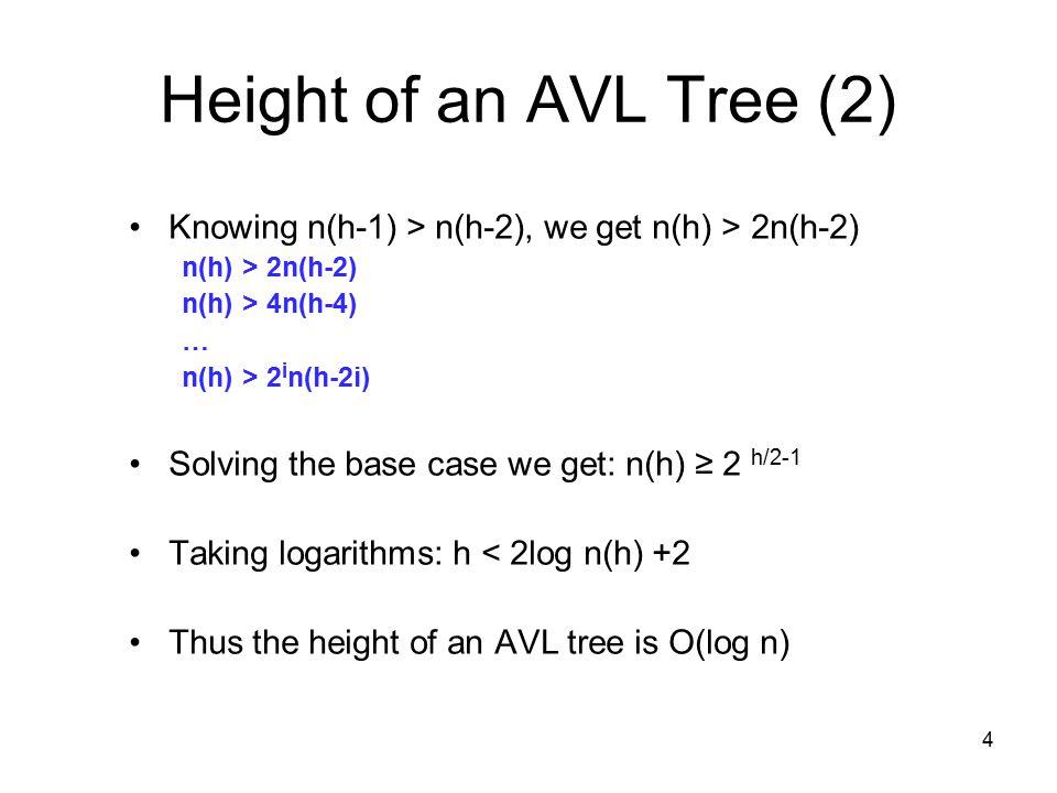 4 Height of an AVL Tree (2) Knowing n(h-1) > n(h-2), we get n(h) > 2n(h-2) n(h) > 2n(h-2) n(h) > 4n(h-4) … n(h) > 2 i n(h-2i) Solving the base case we get: n(h) ≥ 2 h/2-1 Taking logarithms: h < 2log n(h) +2 Thus the height of an AVL tree is O(log n)