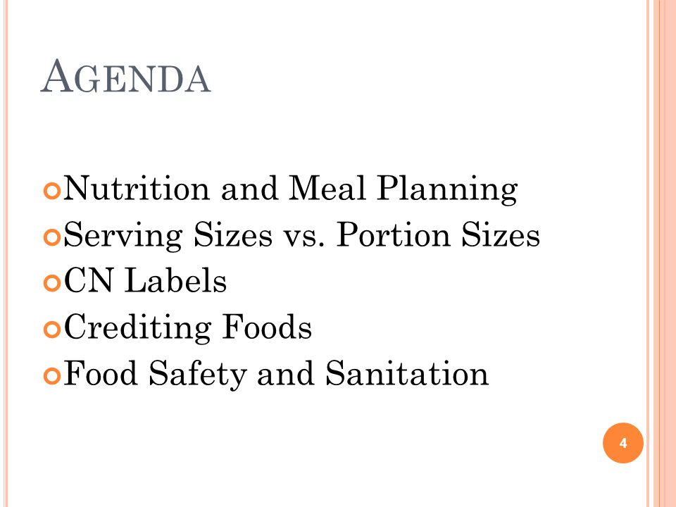 A GENDA Nutrition and Meal Planning Serving Sizes vs.