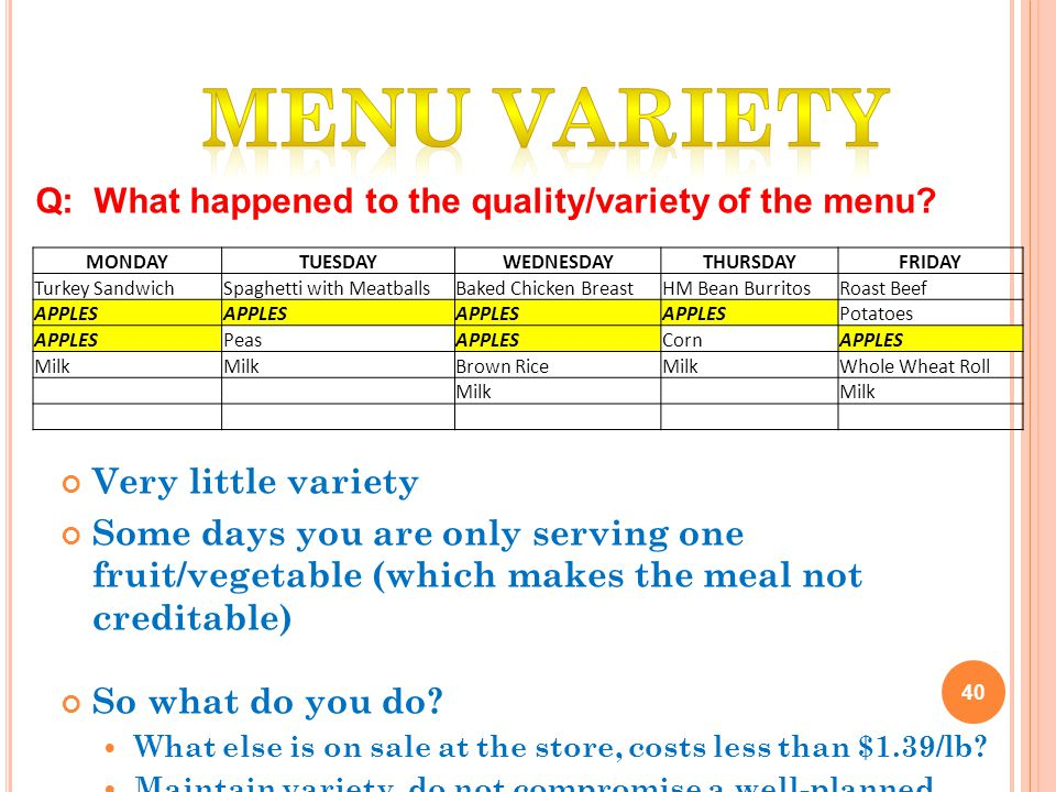 Very little variety Some days you are only serving one fruit/vegetable (which makes the meal not creditable) So what do you do.