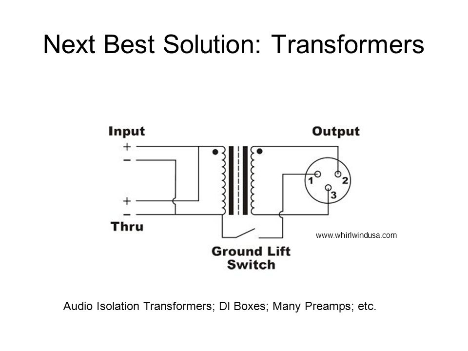 Next Best Solution: Transformers Audio Isolation Transformers; DI Boxes; Many Preamps; etc.