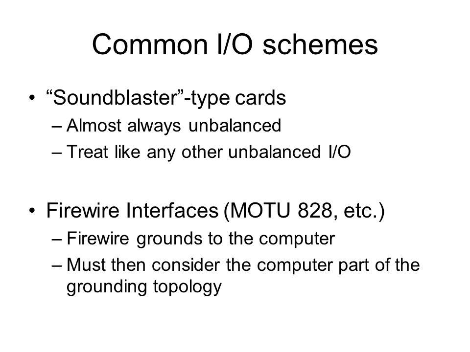 "Common I/O schemes ""Soundblaster""-type cards –Almost always unbalanced –Treat like any other unbalanced I/O Firewire Interfaces (MOTU 828, etc.) –Fire"