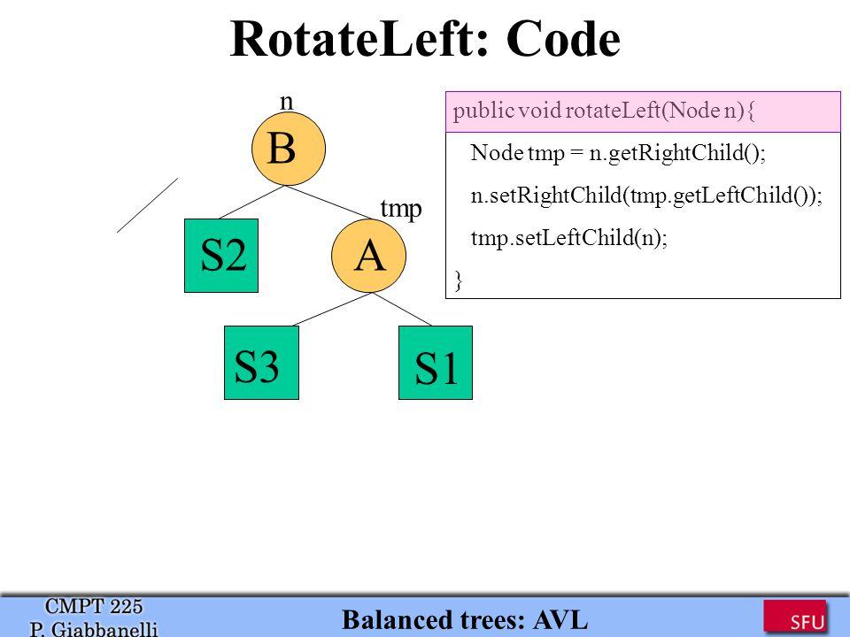 Balanced trees: AVL RotateLeft: Code public void rotateLeft(Node n){ Node tmp = n.getRightChild(); n.setRightChild(tmp.getLeftChild()); tmp.setLeftChild(n); } A S1 S3 B S2 tmp n