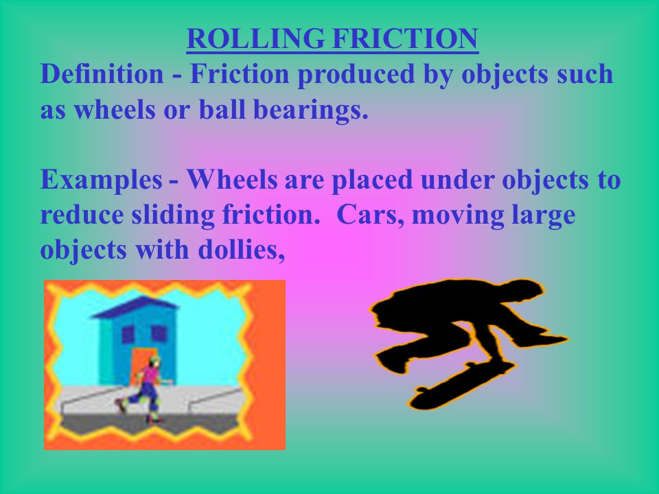 SLIDING FRICTION Definition - Friction caused by objects sliding across one another. Examples - Pushing an object (dresser), sledding, brakes, chalk