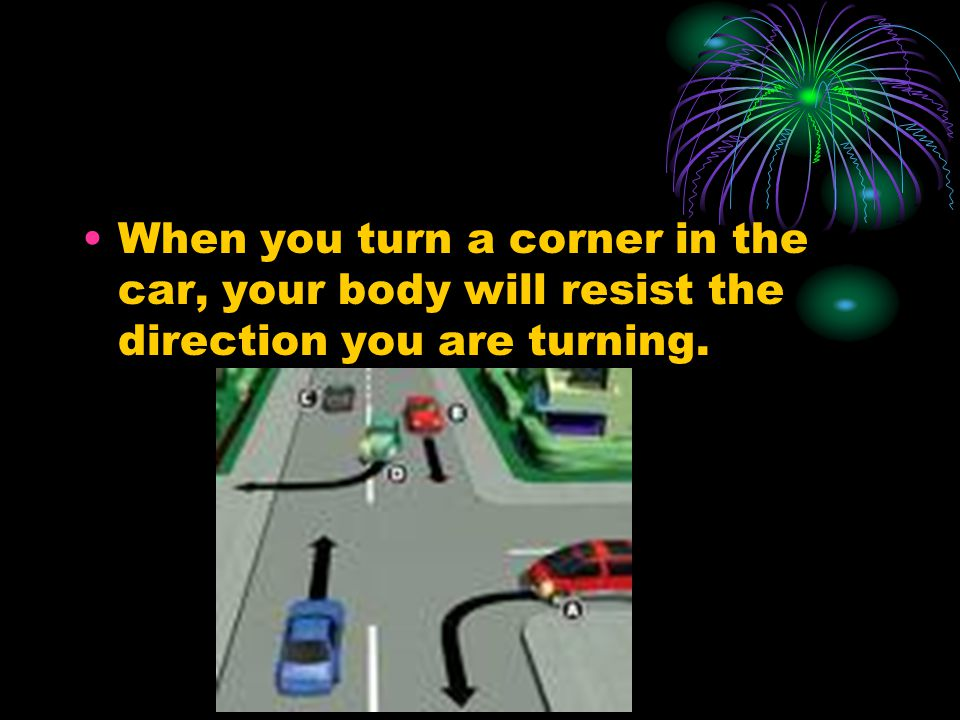 When you turn a corner in the car, your body will resist the direction you are turning.