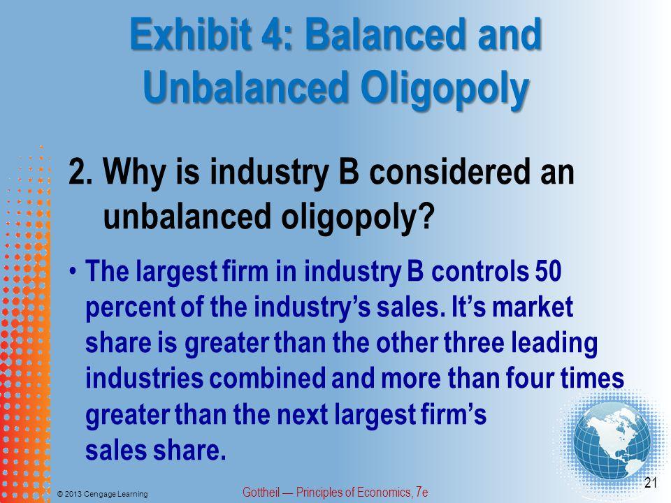 Exhibit 4: Balanced and Unbalanced Oligopoly © 2013 Cengage Learning Gottheil — Principles of Economics, 7e 21 2.