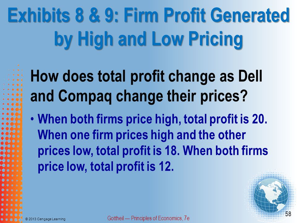 Exhibits 8 & 9: Firm Profit Generated by High and Low Pricing © 2013 Cengage Learning Gottheil — Principles of Economics, 7e 58 How does total profit change as Dell and Compaq change their prices.