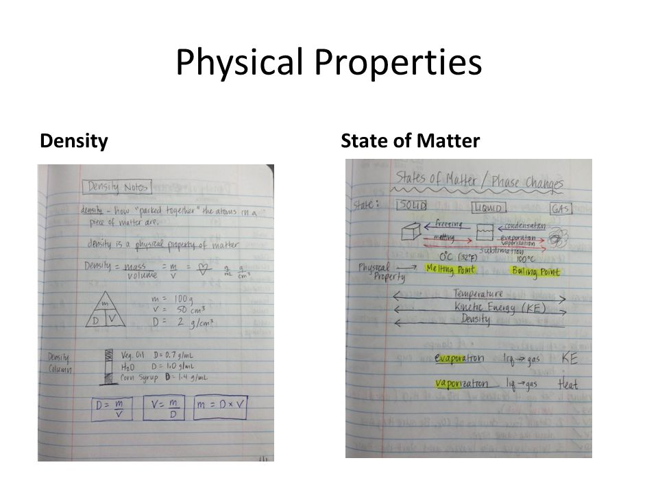 Physical Properties DensityState of Matter