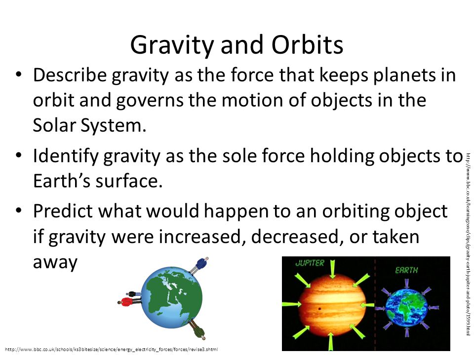 Gravity and Orbits Describe gravity as the force that keeps planets in orbit and governs the motion of objects in the Solar System. Identify gravity a