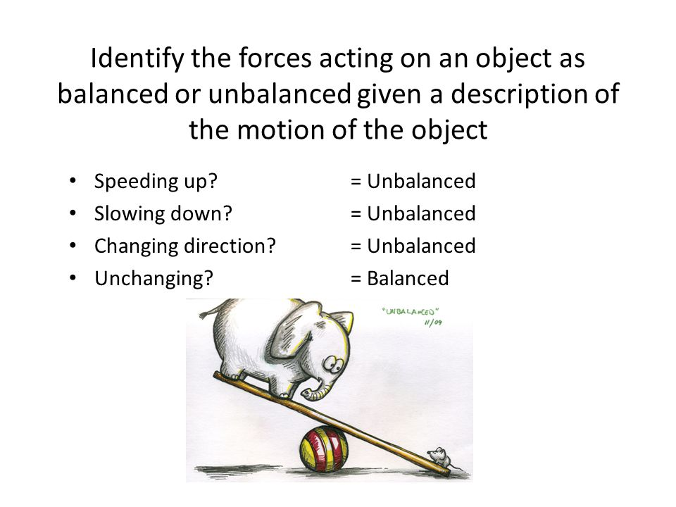 Identify the forces acting on an object as balanced or unbalanced given a description of the motion of the object Speeding up.