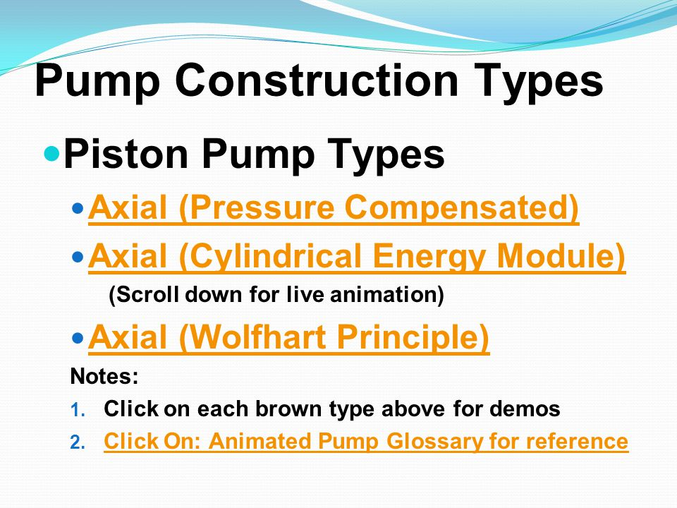 Pump Construction Types Piston Pump Types Axial (Pressure Compensated) Axial (Cylindrical Energy Module) (Scroll down for live animation) Axial (Wolfh