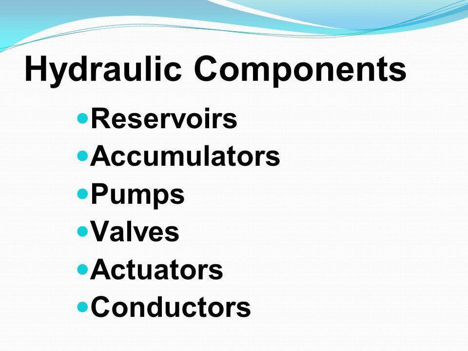 Hydraulic Components Reservoirs Accumulators Pumps Valves Actuators Conductors