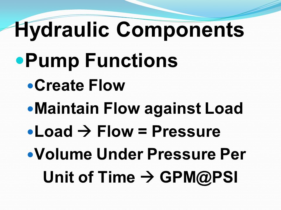 Hydraulic Components Pump Functions Create Flow Maintain Flow against Load Load  Flow = Pressure Volume Under Pressure Per Unit of Time  GPM@PSI